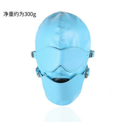 Pu Leather Head harness Full Face Hood Mask Bondage Roleplay Slave Headgear gag