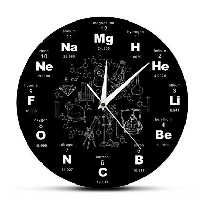 Chemical Periodic Table Of Elements Wall Clock Educational Display Teacher Gift