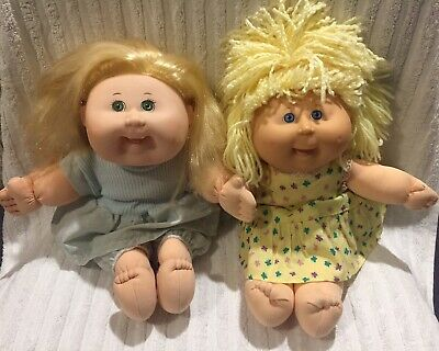 Cabbage Patch Kids CPK, 2x Girl Dolls 35cm Soft Body Hard Head, Pre-owned Used.
