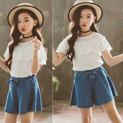 Kids Girls Outfit Tops Shorts Short Sleeve Bottoms Mid Waist Wide Leg Solid Set