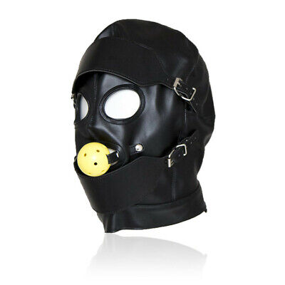 Pu Leather black harness Full Face Hood Mask Bondage Roleplay Slave Headgear gag