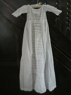 BEAUTIFUL Antique Christening gown/ dress with PINTUCK & LACE detail 38 ins long