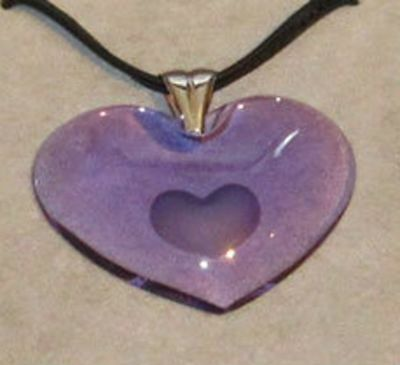 $360 LALIQUE MAUVE XXL Heart Crystal Sterling Pendant Necklace France NEW IN BOX