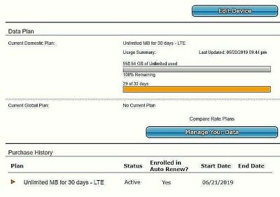AT&T 4G LTE NO throttling Grandfathered ultra high speed Data Plan $34.99 Month