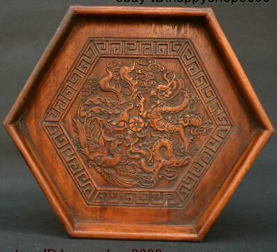 "12"" Old Chinese Huang Huali Wood Dragon Phoenix Statue Tea Tray Pallet Waiter"