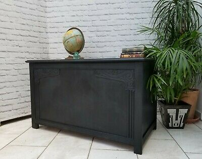 Vintage Chest Blanket Box Ottoman Linen Storage Trunk Art Deco Graphite Grey