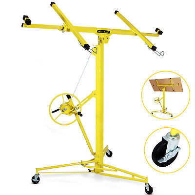 Yellow 16-19' Drywall Panel Lifter Hoist Jack Rolling Caster Lockable DIY Tool