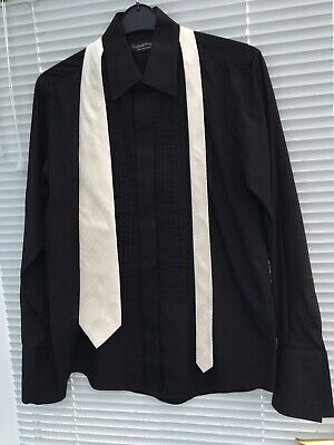 Gents Black Dress Shirt With Pin Pleats And Double Cuffs And White Silk Tie