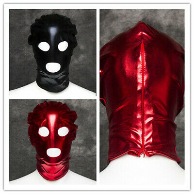 Black/Red PVC Wet Look Full Head Hood Party Restraint Mask BlindFold Dungeon new