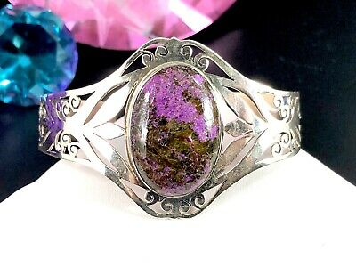 Striking Signed 925 Sterling Silver Oval Charoite Cabochon Stone Cuff Bracelet