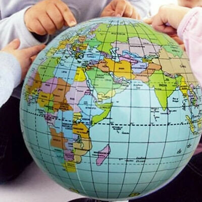 38cm Inflatable World Globe Earth Map Teaching Geography Ball Map Beach For G5Y7