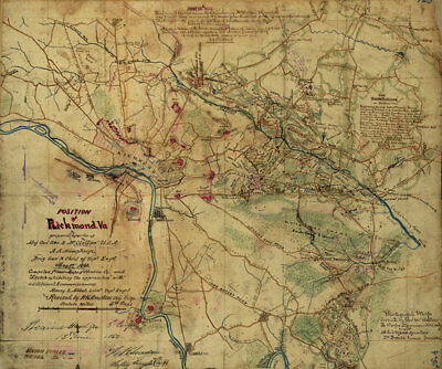 Civil War army Position of Richmond Virginia c1862 map 20x16