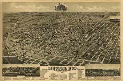 Lincoln Nebraska c1889 map 36x24