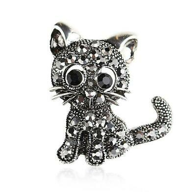 1 Pc Cute Cat Brooches Pin Jewelry For Women Suit Hats Clips Silver Corsage E5A7
