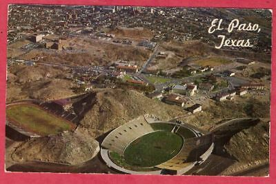 El Paso Texas TX aerial view Sun Bowl football stadium postcard circa 1960 NCAA