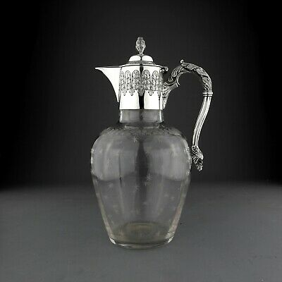 Antique Cut Glass & Solid Sterling Silver Claret Jug Decanter. Mappin & Web 1897
