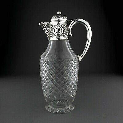 Antique Cut Glass & Solid Sterling Silver Claret Jug Decanter. Lee Wigfull, 1896