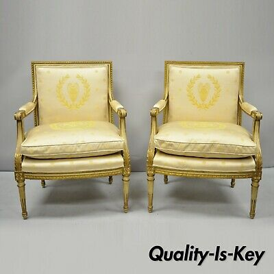 Pair French Louis XVI Neoclassical Gold Silk Fauteuil Parcel Gilt Arm Chairs