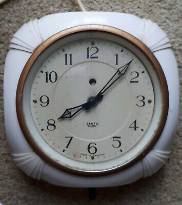 Smiths Sectric Art Deco White Bakelite Electric Wall Clock - Working
