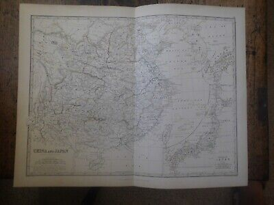 Antique Map 'China And Japan By Johnson .1861 , Colour, 100% Original