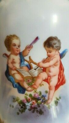 Antique French, Lovely Pair Of Porcelain Lamp, Hand Painted Putti, 19th Century
