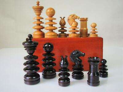 ANTIQUE ENGLISH CHESS SET  K 88 mm  OLD ST GEORGE PATTERN AND BOX NO BOARD BOX