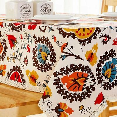Cotton Tablecloth Rectangle Table Runner Boho Sunflower Pattern Lace Trim 36X55