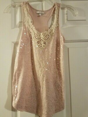 girls rose light pink sequined tank top with lace neckline size small by Delias