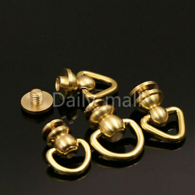 1 x Brass Ball Post with D ring Rivet Stud nail Round head Chicago ScrewBack