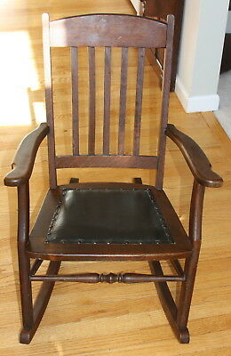 Antique Solid Oak Child's Rocking Chair ~ Solid Quality Rocker ~ Oilcloth Seat