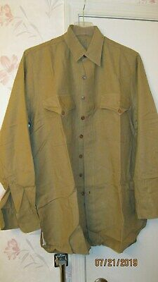 "Original WW2 WWII USMC Mustard Tan Cotton Regulation Shirt 16"" x 35""  (Size 4)"