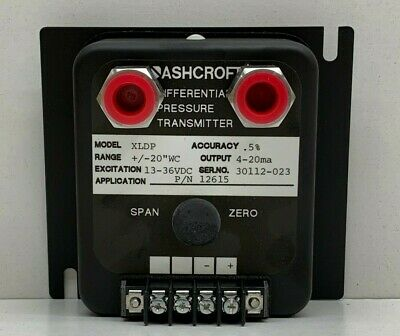 "Ashcroft XLDP Differential Pressure Transmitter +/-20""WC, XLDP-050-C-0-MB3..."