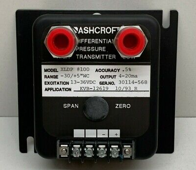 "Ashcroft XLDP #100 Differential Pressure Transmitter -30/+5""WC, XLDP-050-C-0-..."