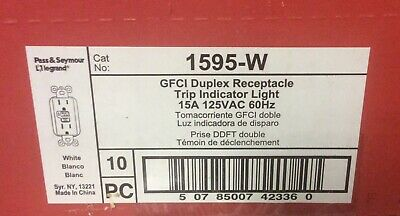 NEW Box Of 10 1595-W GFCI Duplex RECEPTACLE 15 Amp 125V Pass & Seymour Legrand