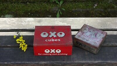 Fabulous Pair Of Vintage Oxo Tins With Lovely Patina - Shabby Chic Collection!