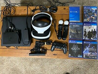 PlayStation 4 Pro Bundle PS4 Pro 1TB Console VR Skyrim + 3 game slightly used!