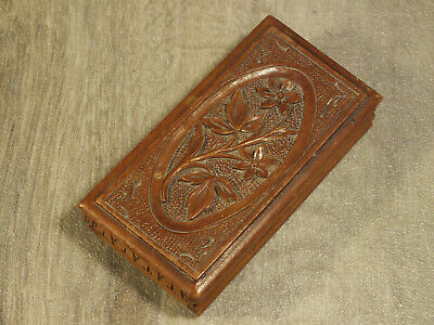 Black Forest Swiss Stamp Box, Carved Wood, 3 compartment; good piece