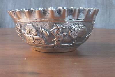 Vintage Asian Siam silver / white metal bowl - no marks - nice piece
