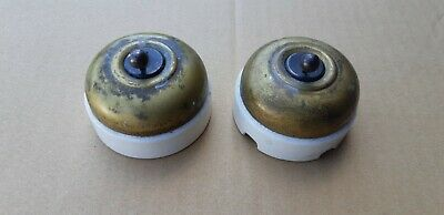Set Of 2 Rare Antique Brass Porcelain Toggle Light Switches (Read Description)