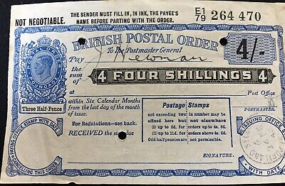 1942 British Postal Order 4/- King George VI Four Shillings Portland Ephemera