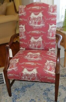 Vintage Martha Washington Arm Chair in Red Toile Stanley Chair Co.