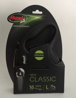 (New) Flexi Classic Retractable 16' Tape Leash For LG Dogs up to 110lbs Black