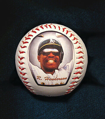 Ricky Henderson Baseball with Art Print of Hand Painted Baseball