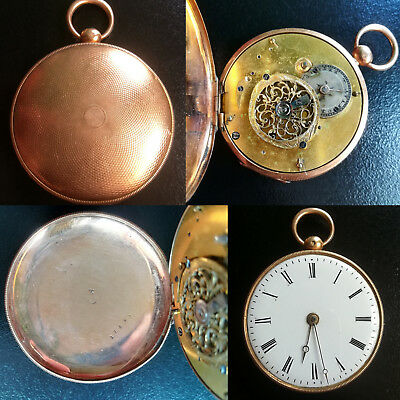 Antique Old Ottoman Solid 18K Gold Verge Fusee Movement Pocket Watch Works