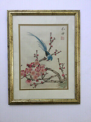 """Antique Vtg Japanese Painting on Silk Bird Cherry Tree Blossoms Signed 17.5"""""""