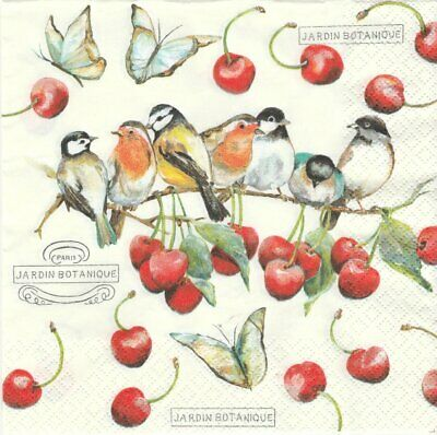 lot de 2 Serviettes en papier Oiseaux Cerises Decoupage Collage Decopatch