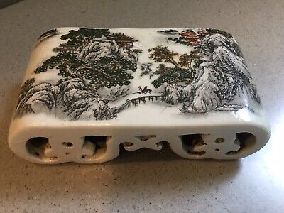 Antique Chinese Hand painted Porcelain Stand Opium Pillow Head Rest