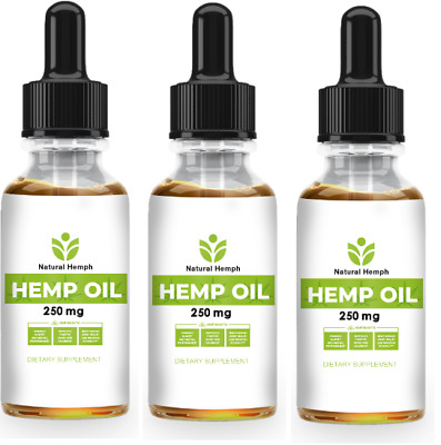 Best Hemp Oil Extract for Pain Relief, Stress Sleep 250 Mg MADE IN USA PACK OF 3