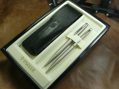 Parker Insignia Ballpoint /Pencil Set New In Box With Leather Parker Pouch