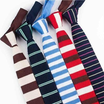 New Classic Men's Tie Knit Skinny Solid Necktie Knitted Narrow Slim Woven Party